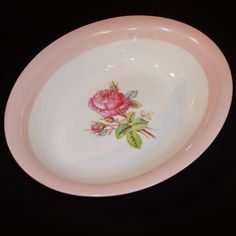 Homer Laughlin Swing Moss Rose Oval Serving Bowl from ruthsredemptions on Ruby Lane
