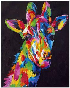 Stare van een Giraffe  handgeschilderde door FolkcultureGallery