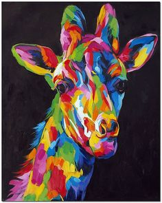 Stare of a Giraffe Signed Hand Painted by FolkcultureGallery