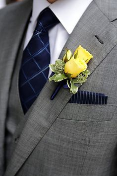 Marie Labbancz, Navy, Yellow and White Wedding, Boutonniere, Garces Catering Yellow Wedding Flowers, Prom Flowers, Yellow Roses, Blue Wedding, Trendy Wedding, Wedding Colors, Dream Wedding, Purple Flowers, Pink Roses