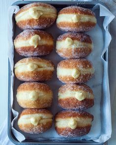 with rich vanilla cream Doughnuts, absolutely wonderful. Nice, soft overnight brioche dough, deep fried and filled with rich vanilla cream. Pastry Recipes, Baking Recipes, Puff Pastry Desserts, Choux Pastry, Delicious Donuts, Yummy Food, Just Desserts, Dessert Recipes, Brunch Recipes
