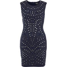TOPSHOP Mirror Stud Bodycon Dress ($70) ❤ liked on Polyvore featuring dresses, vestidos, topshop, robes, navy blue, body con dress, bodycon dress, sleeveless cocktail dress, navy cocktail dress and sleeveless bodycon dress