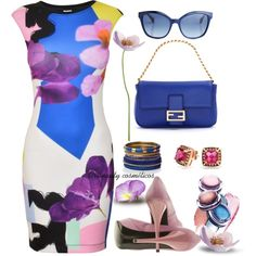 Floral Dress by oribeauty-cosmeticos on Polyvore featuring moda, Pinko, Fendi, Bling Jewelry and Monsoon
