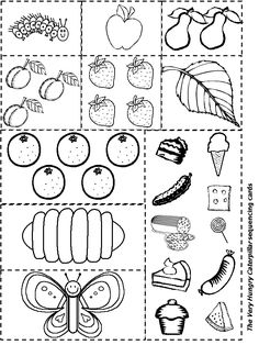 Very Hungry Catepillar Food Templates (Black & White) Visit dltk-teach.com/books/hungrycaterpillar/ for color templates & many other resources!