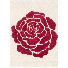 Sandra Ivory & Red Chevron Wool Hand-Tufted Area Rug