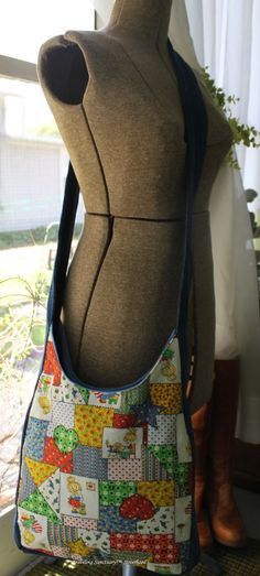 70's Retro Messenger Bag. Cross Body Bag.  Holly Hobbie Fabric.  Holly Hobbie Cut and Sew Applique. $40