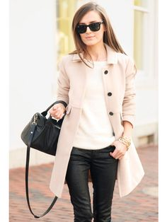Leather Skinnies. White Tee. Tan Trench. Maybe Black Booties or Tan Pointed Toe Flats. Black Satchel.
