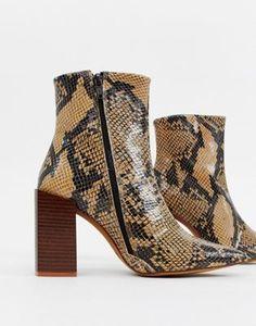 66bd88cec Depp leather snake block heeled boots