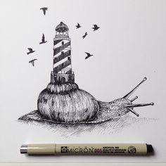 Snail lighthouse Ink © Alfred Basha