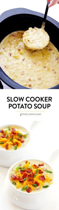 This Slow Cooker Potato Soup recipe is thick and creamy (without using heavy cream), it\'s wonderfully flavorful, and it\'s made extra easy in the crock pot! | gimmesomeoven.com