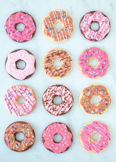 Donut Sugar Cookies, One Dozen Decorated Sugar Cookies Iced Cookies, Cute Cookies, Royal Icing Cookies, Cookie Desserts, No Bake Desserts, Sugar Cookies, Cute Donuts, Mini Donuts, Best Sweets