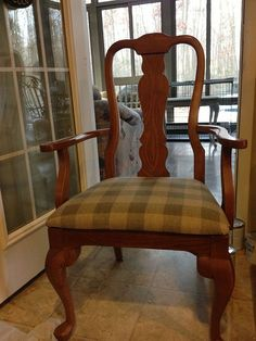This is for the girl that asked about painting fabric on her chair with chalk paint.   I bought these chairs for 5 bucks each at a garage sale! SCORE!!This is t…
