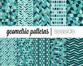 Geometric Digital paper pack Seaside - Green blue Chevron Instant download printable scrapbook personal and commercial use