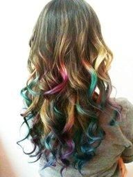 obsessed with dip dyed hair & hair chalk Spring Hairstyles, Pretty Hairstyles, Rainbow Hairstyles, Curly Hairstyle, Amazing Hairstyles, Simple Hairstyles, Hair Colorful, Multicolored Hair, Colorful Fashion