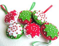 White pink Christmas tree ornaments Felt ornaments by feltgofen