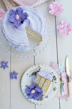 Vanilla layered cake with violet buttercream frosting
