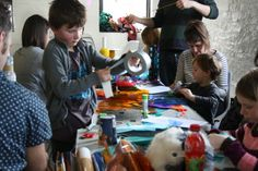 We Are Family: Be Artrageous! Lots of lovely families making colourful lanterns at We Are Family today (22/02)