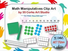 """Why is it so hard to find number lines online? Use these math manipulatives for any project, slideshow, flashcards, or math center you'd like to create. Included are:*base ten blocks (2D and 3D); one, ten, one hundred*various number lines (blank and filled in); fives, tens, twos*""""quick-count"""" array dots to ten*ten-frames (blank and filled in) 1-20, 100*student centimeter ruler (to 15cm)*quarter and half circles/rectangles (blackline and colored)I do appreciate a mention and for you to put…"""