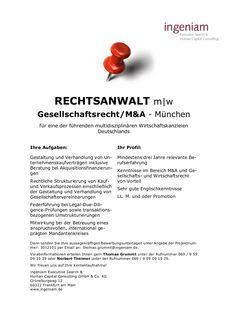 Rechtsanwalt (m/w) - Gesellschaftsrecht - München | Bayern by Kanzlei Job via slideshare