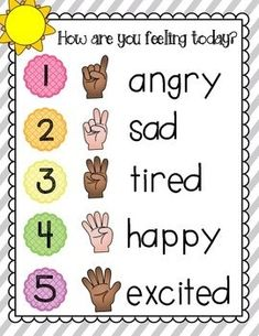 Great for morning meeting routine. Students hold up a finger to let you know how they are feeling as they arrive at school.playful-in-pr. Morning Meeting Kindergarten, Morning Meeting Activities, Feelings Chart, Feelings And Emotions, Morning Messages, Morning Greeting, Morning Meeting Greetings, Anchor Charts, Community Building Activities