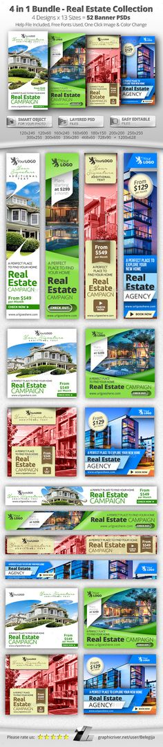 4 in 1 Bundle – 52 Real Estate Banner Campaign - Banners & Ads Web Elements