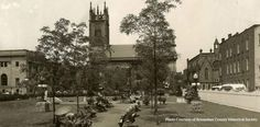 Barker Park, Troy, NY  1940's.   St Paul's church is in the center, with the Guild House to the left, across  Church Street.