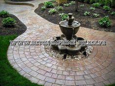 Granada, Fountain, Patio, Outdoor Decor, Html, Facebook, Printed Concrete, Flooring, Home Ideas