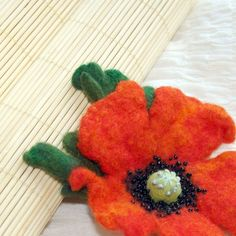 Wild poppy sing  Hand Felted Wool Flower Brooch  Felt by katinytis, $20.00