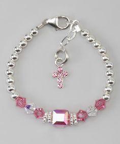 Beaded Jewelry Plata y rosa cruzan pulsera - Sterling Silver Bead Jewellery, Wire Jewelry, Jewelry Crafts, Beaded Jewelry, Jewelery, Jewelry Bracelets, Beaded Necklace, Ankle Bracelets, Jewelry Ideas
