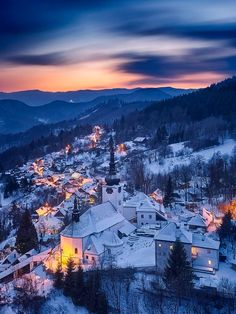 ***Golden Village (Spania Dolina, Slovakia) by Marek Potoma / ❄️c. Pretty Pictures, Cool Photos, Travel Around The World, Around The Worlds, Winter Trees, Winter Snow, Beautiful Nature Scenes, Fantasy Romance, Beautiful Places To Travel