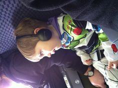 Buzz lightyear on the plane.