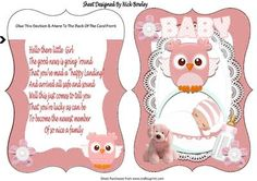 baby girl in basket carried by owl bracket card verse on Craftsuprint - Add To Basket!