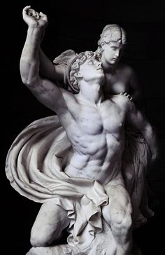 Marble statue in Berlin of the ancient #Greek god, Hermes (Roman: Mercury) and the beautiful Psyche (Reinhold Begas -1878)