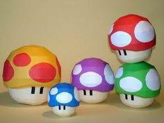 paper mache mushrooms for super mario party