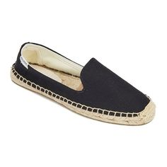 Soludos Women's Linen Espadrille Smoking Slippers - Linen Black (617705 BYR) ❤ liked on Polyvore featuring shoes and slippers
