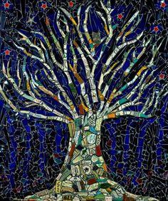 """ Tree of life"" Mosaic art by Angela Farnham. Blue, white, words , Stars, owl, bird."