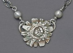 "Carved fine silver ""Crazy Egg"" pendant from Jewelry by Mirinda"