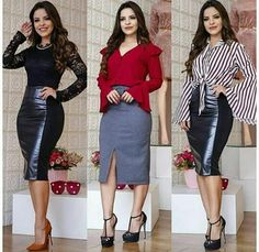 Fashion 2017, Look Fashion, Couture Fashion, Fashion Outfits, Pencil Skirt Work, Classy Work Outfits, Corporate Wear, Dressy Tops, How To Look Classy