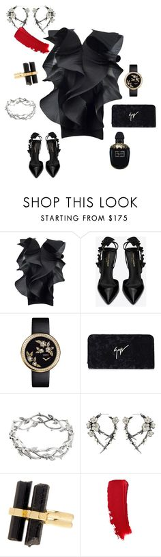"""""""Eva Kant"""" by futuraocculto ❤ liked on Polyvore featuring Pierre Cardin, Yves Saint Laurent, Chanel, Giuseppe Zanotti, Tiffany & Co., Shaun Leane, House of Harlow 1960, Alexander McQueen and totalblack"""