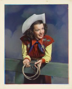 """Rare - Dale Evans From the collection: """"In Vibrant Color: Vintage Celebrity Portraits from the Harry Warnecke Studio. Vintage Cowgirl, Cowboy And Cowgirl, Cowgirl Chic, Cow Girl, Gaucho, Dale Evans, Cowboys And Indians, Real Cowboys, The Lone Ranger"""
