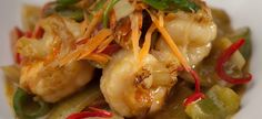 Udang Galah Goreng (Malaysian style spicy & sweet prawn stir fry over sauteed vegetables served with rice)