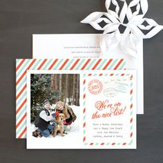 North Pole Stamp Holiday Photo Cards by Emily Crawford | Elli