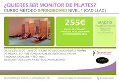 Para todos aquellos que nos pedíais un Curso de Pilates Springboard en Madrid... Aquí teneis toda la información para nuestro curso en Octubre. Reserva tu plaza ya mismo y aprovecha este descuento.