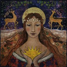 Holding the New Born Sun ~ Wendy Andrew. Yule/Christmas card