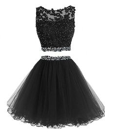 Prom Dresses Two Pieces Short Beaded Party Dresses Tulle Applique Homecoming Dress - Homecoming Dresses