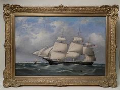 """""""PORTRAIT OF THE AMERICAN SHIP G.H. LAMAR"""", oil on canvas depicting the crew bringing in the sails as it approaches headland. Original 19th C. gilt frame. Unsigned, painted in the school of the Tudgays. 23.5 in. x 35.5 in."""
