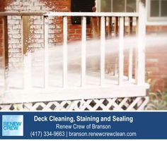 http://branson.renewcrewclean.com – The deck cleaning process begins with Renew Crew's proprietary cleaning solution to loosen dirt and mildew. This solution is sprayed on and is 100% safe to your plants, kids and pets. We serve Branson and surrounding areas. Free estimates.