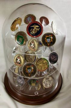 Glass Platform Coin Display Dome - Perfect for displaying military challenge coins
