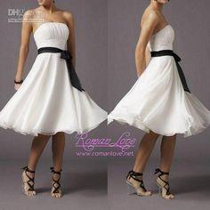 Wholesale Chiffon strapless Black Sash White Pure Simple knee length sleeveless cocktail dress evening dresses-- flowy material