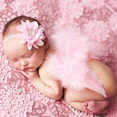 Alas de ángel Alas de Plumas Accesorios Para el Cabello Flor Del Bebé Venda de La Perla Foto Disparar Para Recién Nacidos Fotografía apoya 0-6 meses